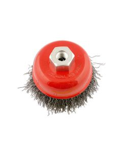 ABRACS 75MMX M14 CRIMPED WIRE CUP BRUSH STAINLESS STEEL