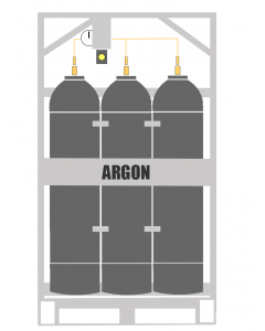 Here You will see an Argon Manifold Cylinder Pallet. This type of cylinder system is also known as an Industrial gas Argon Bank. This Manifold Cylinder Pallet contains 9 cylinders which are available in 200 or 300 bar pressure.