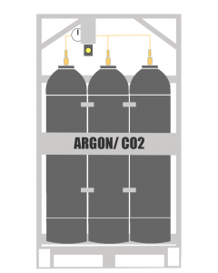 Here You will see an Argon/CO2 Manifold Cylinder Pallet. This type of cylinder system is also known as an Industrial gas Argon/CO2 Bank. This Manifold Cylinder Pallet contains 9 cylinders which are available in 200 or 300 bar pressure. A mix of gases is a