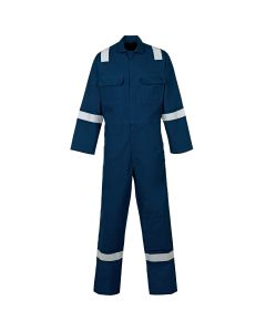 Here you will see a Blue welders flame retardant Overall or Coverall. this Welders Coverall comes in many sizes and three colours, you see here the Blue flame retardant coverall. This overall has reflective tape on the shoulder, arms and legs for added