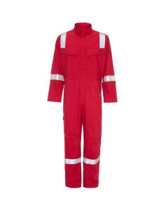 See here a Red welders flame retardant Overall or Coverall. this Red Welders Coverall comes in many sizes and three colours. This Red overall has reflective tape on the shoulder, arms and legs for added