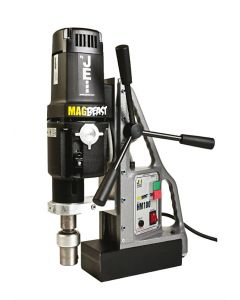 Look here at this is a Mag Drill from JEI. This JEI Mag Drill is also known as the JEI MagBeast HM-100S Mag Drill. All Rotabroach and Magdrill HSS Cutters and Mag Drill Bits fit this machine