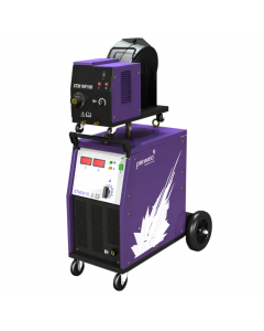 This is an image of a Parweld XTM 301S Separate Wire Feed MIG Welder with a torch and gas regulator