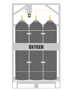 Here You will see an Oxygen Manifold Cylinder Pallet. This type of cylinder system is also known as an Industrial gas Oxygen Bank. This Manifold Cylinder Pallet contains 9 cylinders which is available in 200 or 300 bar pressure.
